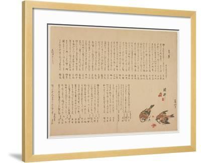 Sparrows and Plum Flowers, 1823-Yokoyama Kazan-Framed Giclee Print