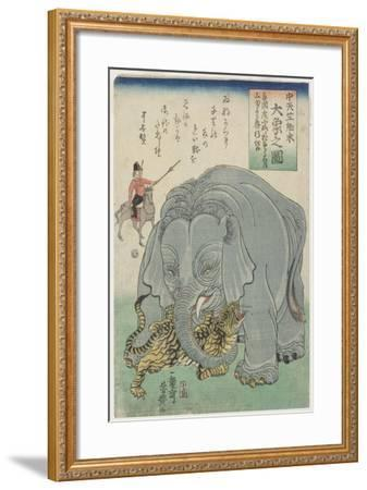 Elephant from India with Tiger, February 1863- Yoshitoyo-Framed Giclee Print