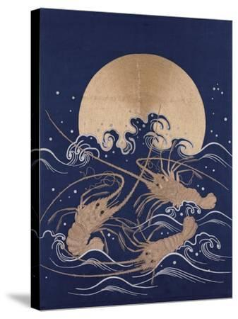 A Japanese Embroidered Textile Panel of Dark Blue Satin Depicting Three Crayfish Among Waves before--Stretched Canvas Print