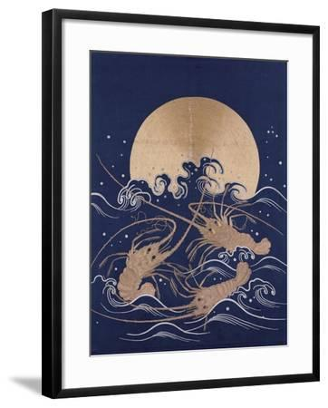 A Japanese Embroidered Textile Panel of Dark Blue Satin Depicting Three Crayfish Among Waves before--Framed Giclee Print