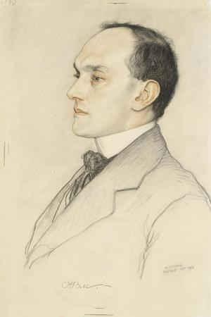 Portrait of Charles Francis Bell, 1913 (Coloured Crayons on a Pale Ochre Preparation)-William Strang-Stretched Canvas Print
