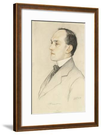 Portrait of Charles Francis Bell, 1913 (Coloured Crayons on a Pale Ochre Preparation)-William Strang-Framed Giclee Print