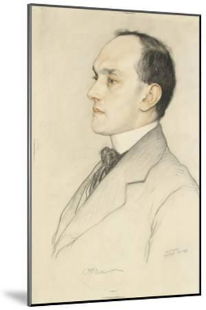 Portrait of Charles Francis Bell, 1913 (Coloured Crayons on a Pale Ochre Preparation)-William Strang-Mounted Giclee Print
