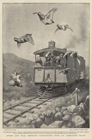 Sport and War, Shooting Partridges from an Armoured Train-William T^ Maud-Stretched Canvas Print