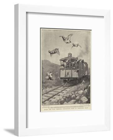 Sport and War, Shooting Partridges from an Armoured Train-William T^ Maud-Framed Giclee Print