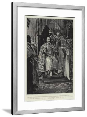 The Ensign of Sovereignty, the Archbishop of Canterbury Placing the Crown on the King's Head-William T^ Maud-Framed Giclee Print