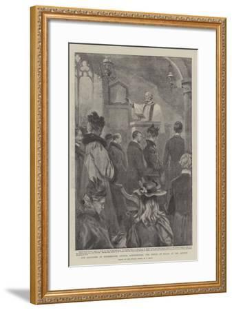 The Reopening of Shernbourne Church, Sandringham, the Prince of Wales at the Service-William T^ Maud-Framed Giclee Print