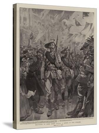 Brothers in Arms Meet Again, a Scene in the Strand-William T^ Maud-Stretched Canvas Print