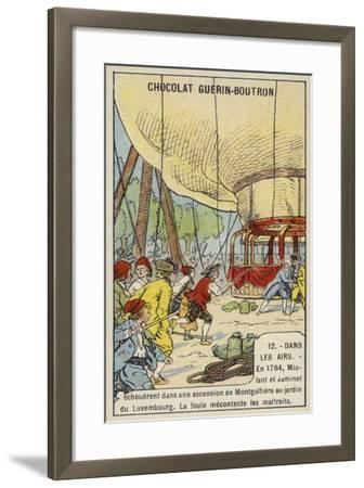 Angry Crowd Attacking Miloant and Jaminet after the Failure of their Balloon Ascent from the Jardin--Framed Giclee Print