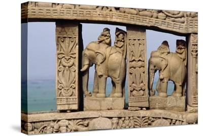 Architectural Detail with Elephants of North Gate of Great Stupa--Stretched Canvas Print