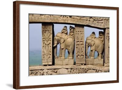 Architectural Detail with Elephants of North Gate of Great Stupa--Framed Giclee Print