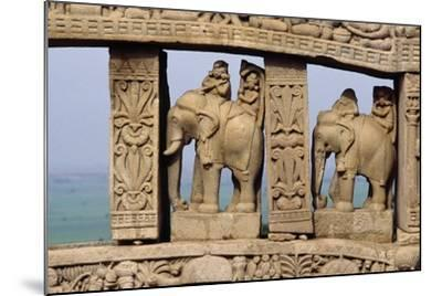 Architectural Detail with Elephants of North Gate of Great Stupa--Mounted Giclee Print