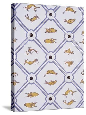 Bathroom Tiles with Marine Motifs--Stretched Canvas Print