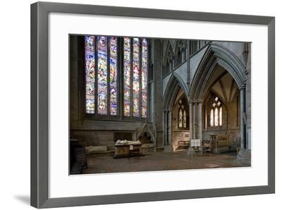 Aisle and Stained Glass Window in Hereford Cathedral--Framed Photographic Print