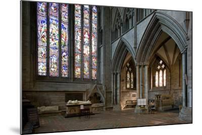 Aisle and Stained Glass Window in Hereford Cathedral--Mounted Photographic Print