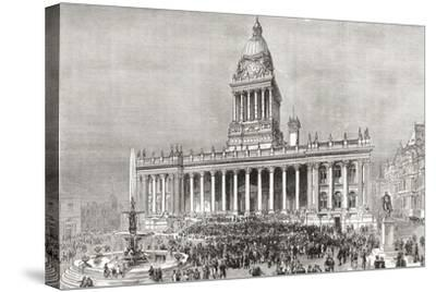 An Open Air Band Performance in Front of Leeds Town Hall--Stretched Canvas Print