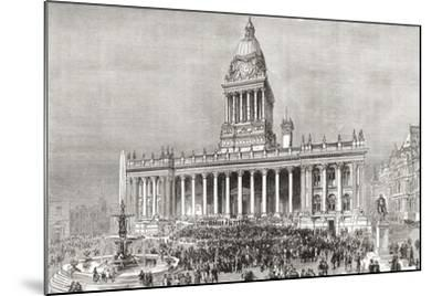 An Open Air Band Performance in Front of Leeds Town Hall--Mounted Giclee Print