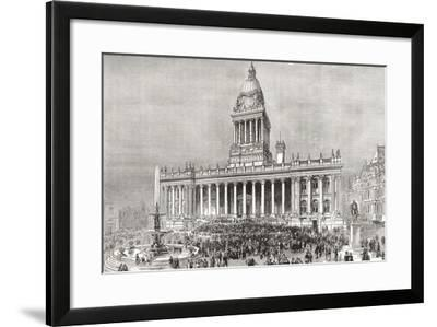 An Open Air Band Performance in Front of Leeds Town Hall--Framed Giclee Print