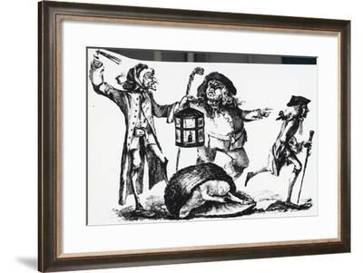 Anatomist Surprised by the Nightwatch Man While Transporting a Corpse in a Basket--Framed Giclee Print