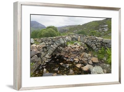 Ancient Arched Stone Bridge across Mountain Stream--Framed Photographic Print