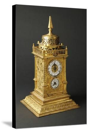 Aedicule-Shaped Augsburg Gilt and Pierced Bronze Table Clock with Two Dials--Stretched Canvas Print