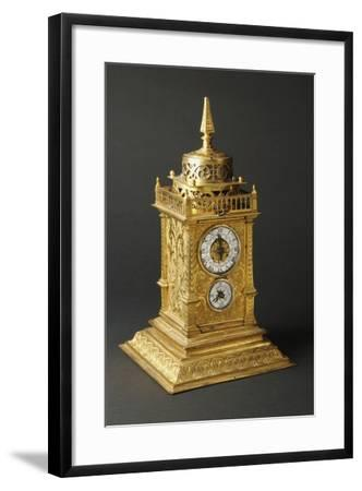 Aedicule-Shaped Augsburg Gilt and Pierced Bronze Table Clock with Two Dials--Framed Giclee Print