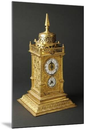 Aedicule-Shaped Augsburg Gilt and Pierced Bronze Table Clock with Two Dials--Mounted Giclee Print