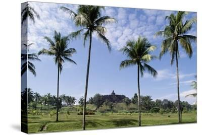 Buddhist Temple of Borobudur in Background (Unesco World Heritage List--Stretched Canvas Print