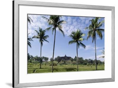 Buddhist Temple of Borobudur in Background (Unesco World Heritage List--Framed Giclee Print