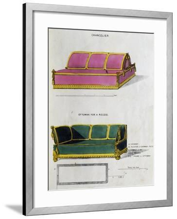 Chancelier Sofa and Ottoman for Recess by George Smith from Cabinet Maker and Upholsterer's Guide--Framed Giclee Print