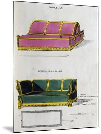 Chancelier Sofa and Ottoman for Recess by George Smith from Cabinet Maker and Upholsterer's Guide--Mounted Giclee Print
