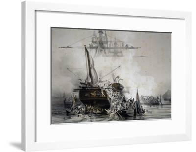 Brigantine Le Cygne Being Boarded by English Sailors--Framed Giclee Print