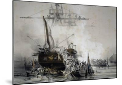 Brigantine Le Cygne Being Boarded by English Sailors--Mounted Giclee Print