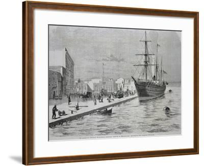 British Merchant Ship Simla Arriving at the Port of Brindisi--Framed Giclee Print