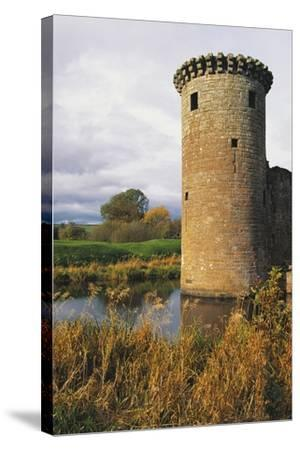 Circular Flanking Tower Along Walls of Caerlaverock Castle--Stretched Canvas Print
