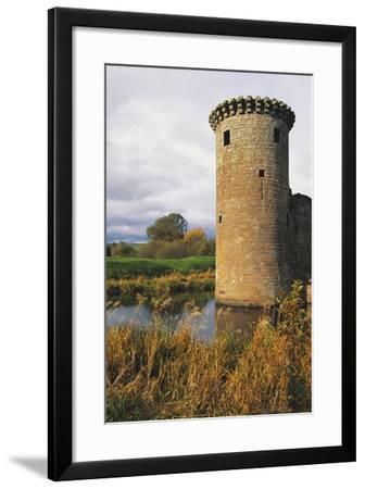 Circular Flanking Tower Along Walls of Caerlaverock Castle--Framed Photographic Print