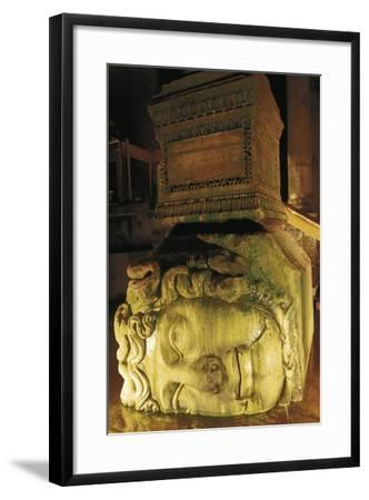 Colossal Head of Medusa Used as the Base of a Column in the Basilica Cistern--Framed Photographic Print