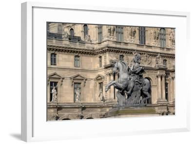 Equestrian Statue of King Louis XIV (1638-1715) in Cour Napoleon (Napoleon Courtyard) of Louvre Pal--Framed Photographic Print