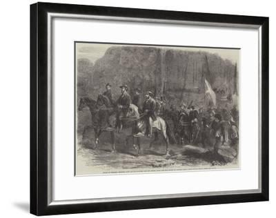 Flight of President Jefferson Davis and His Ministers over the Georgia Ridge--Framed Giclee Print