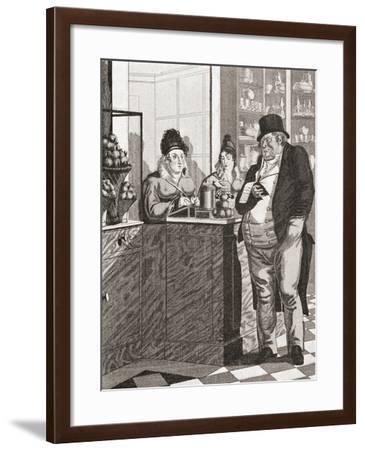 English Gentleman Paying the Bill in a Parisian Restaurant--Framed Giclee Print