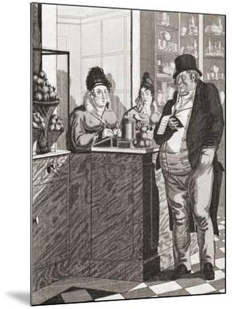 English Gentleman Paying the Bill in a Parisian Restaurant--Mounted Giclee Print