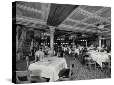 First-Class Restaurant on Board Ss Conte Rosso Transatlantic Liner--Stretched Canvas Print