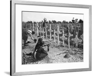 French Children Tending Graves at Adelaide Cemetery of Australians Killed in Battle on the Western--Framed Photographic Print