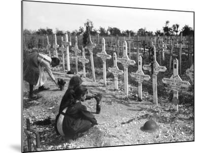French Children Tending Graves at Adelaide Cemetery of Australians Killed in Battle on the Western--Mounted Photographic Print