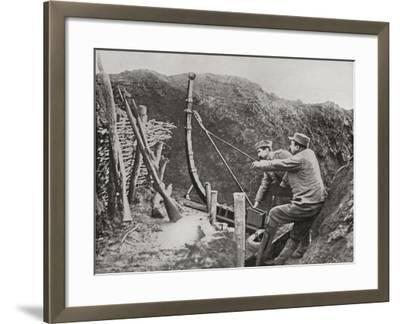French Soldiers Using a Catapult for Flinging Bombs During World War One--Framed Giclee Print