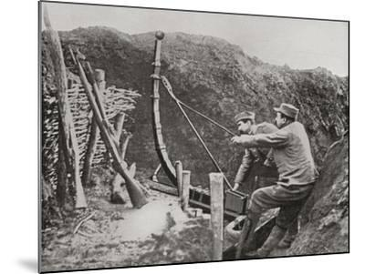 French Soldiers Using a Catapult for Flinging Bombs During World War One--Mounted Giclee Print