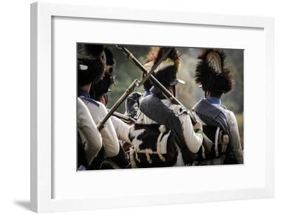 Historical Reenactment: Austrian Imperial Soldiers in the Venetian Countryside--Framed Photographic Print