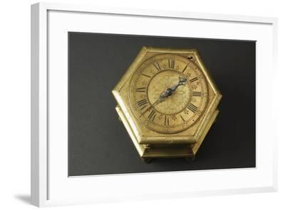 Hexagonal-Shaped Horizontal Table Clock Inserted in Glass and Brass Case--Framed Giclee Print