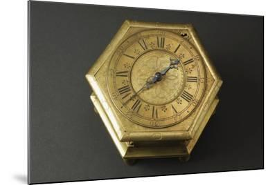 Hexagonal-Shaped Horizontal Table Clock Inserted in Glass and Brass Case--Mounted Giclee Print