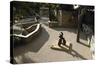High Angle View of a Statue in the Garden--Stretched Canvas Print